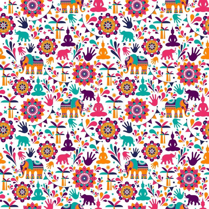Projeto sem emenda do teste padrão dos elementos felizes do vetor do holi, projeto feliz do holi com ícone colorido fotos de stock