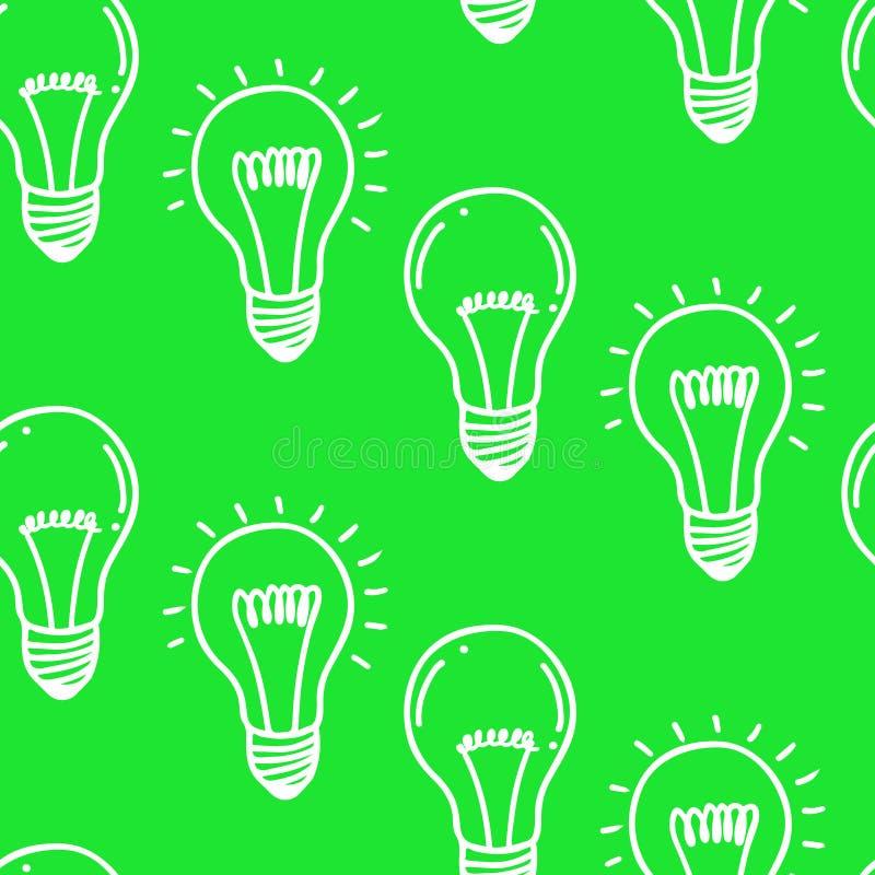 Projeto sem emenda tirado mão do teste padrão da ampola da lâmpada Ícone das ampolas Conceito da inspiração grande das ideias, in ilustração do vetor