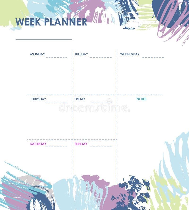 Projeto semanal do planejador ilustração royalty free