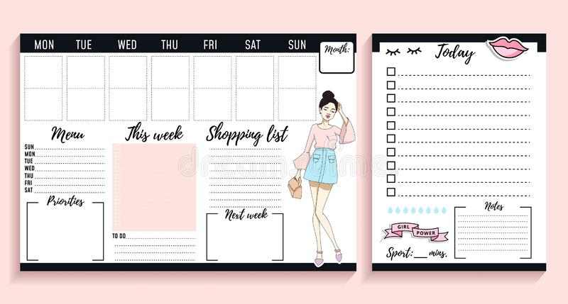 Projeto semanal e diário do chefe da menina do planejador com elementos e jovens mulheres da forma ilustração do vetor