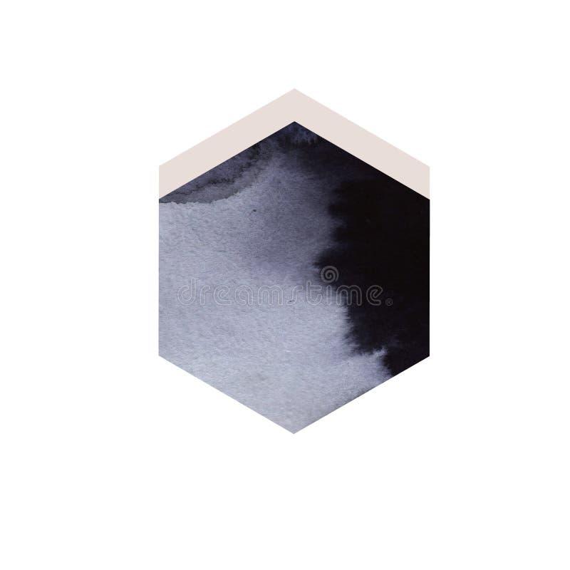 Projeto sextavado do fundo da aquarela preta Aperfeiçoe para gráficos do movimento, composição digital, cartazes ilustração royalty free