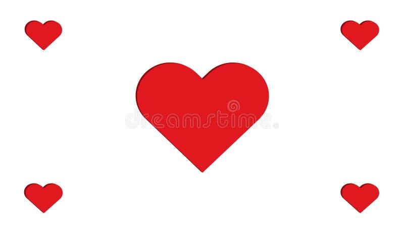 projeto simples da ilustração do vetor do amor do múltiplo quatro vermelhos dos corações do coração 3D fotografia de stock