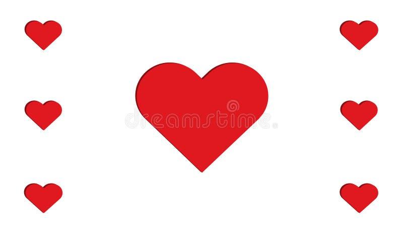 projeto simples da ilustração do vetor do amor do múltiplo sete vermelhos dos corações do coração 3D fotografia de stock royalty free