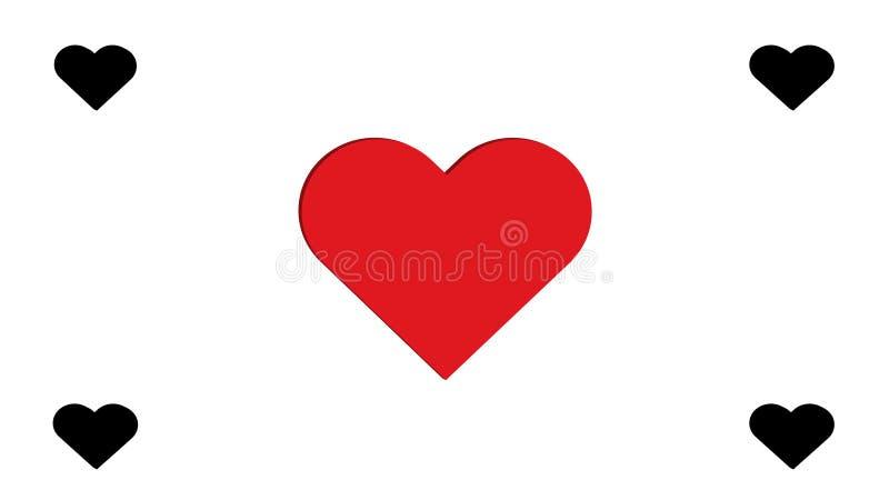 projeto simples da ilustração do vetor do amor do preto 3D e do múltiplo quatro vermelhos dos corações do coração fotos de stock royalty free