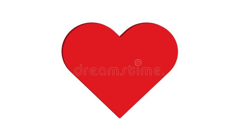 projeto simples da ilustração do vetor do amor do preto 3D e do múltiplo sete vermelhos dos corações do coração imagens de stock