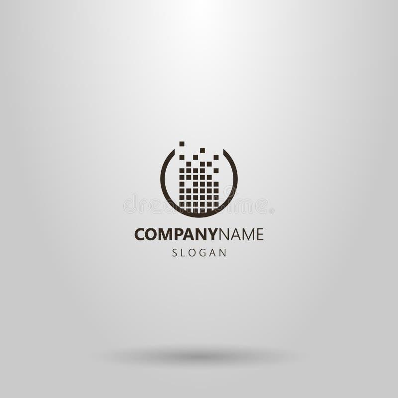 Projeto simples do logotipo do vetor construído de um grupo de quadrados em um quadro redondo ilustração stock