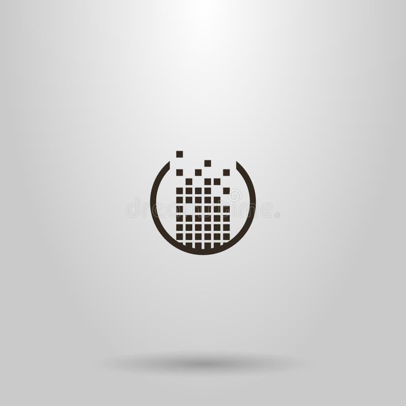 Projeto simples do sinal do vetor construído de um grupo de quadrados em um quadro redondo ilustração royalty free