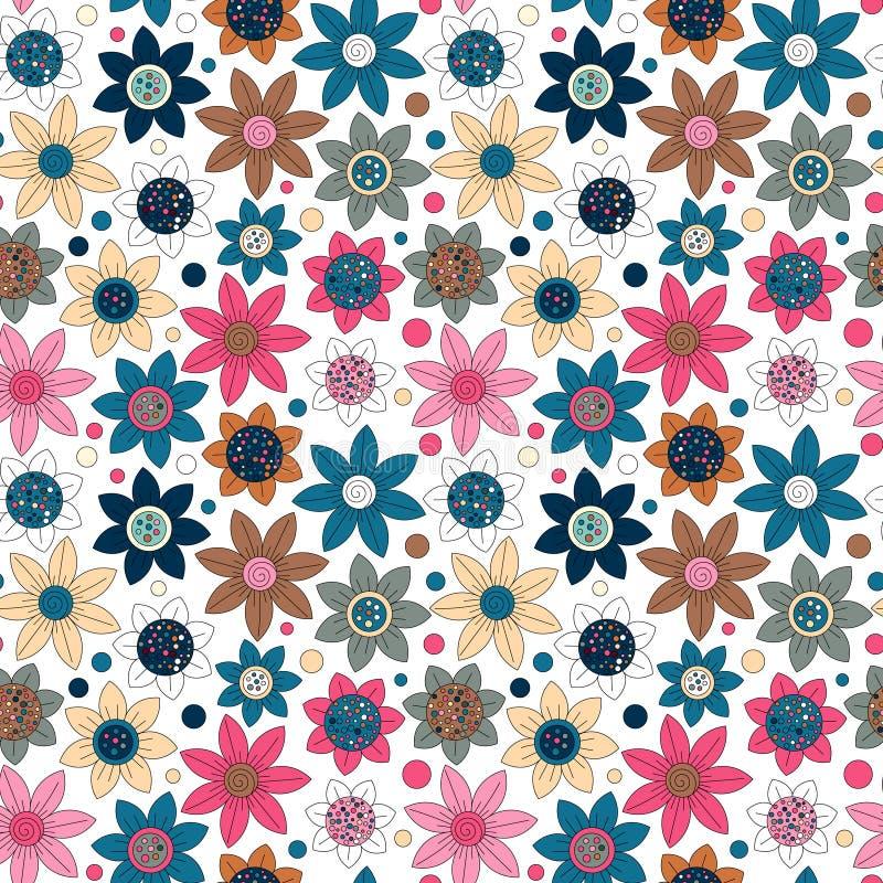 Projeto simples do teste padrão bonito sem emenda floral O primitivo floresce o ornamento sem emenda Fundo brilhante do bege do O ilustração do vetor