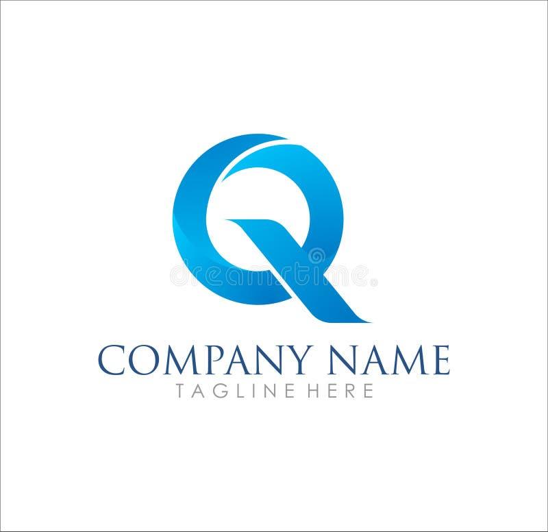 Projeto simples impressionante moderno do logotipo de Q ilustração royalty free