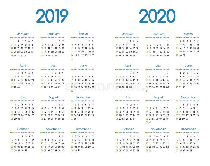 Projeto simples moderno novo do calendário do vetor do ano 2019 e 2020 com fonte redonda do serif de san, planejador de evento do ilustração royalty free