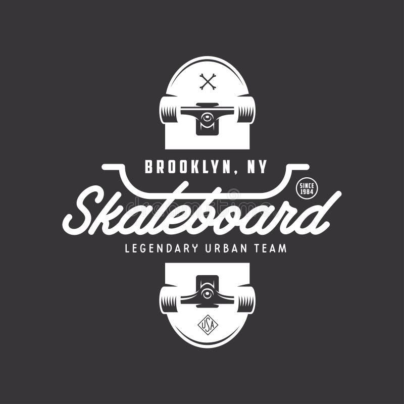 Projeto Skateboarding do t-shirt Ilustração do vintage do vetor ilustração royalty free