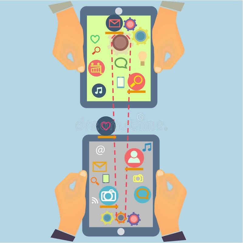 Projeto social da informática dos meios com multi ilustração do vetor