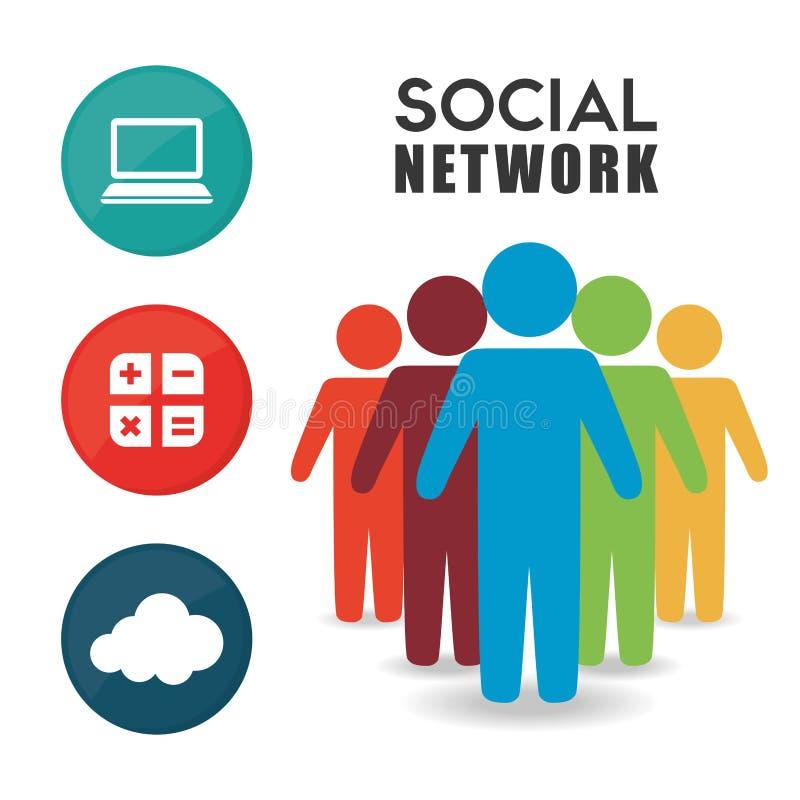 Projeto social do vetor da rede ilustração do vetor