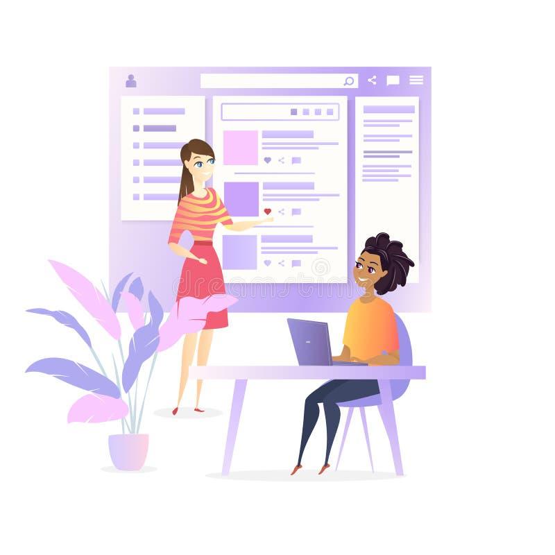 Projeto social dos meios do projeto do colaborador de Ui do Web site ilustração royalty free