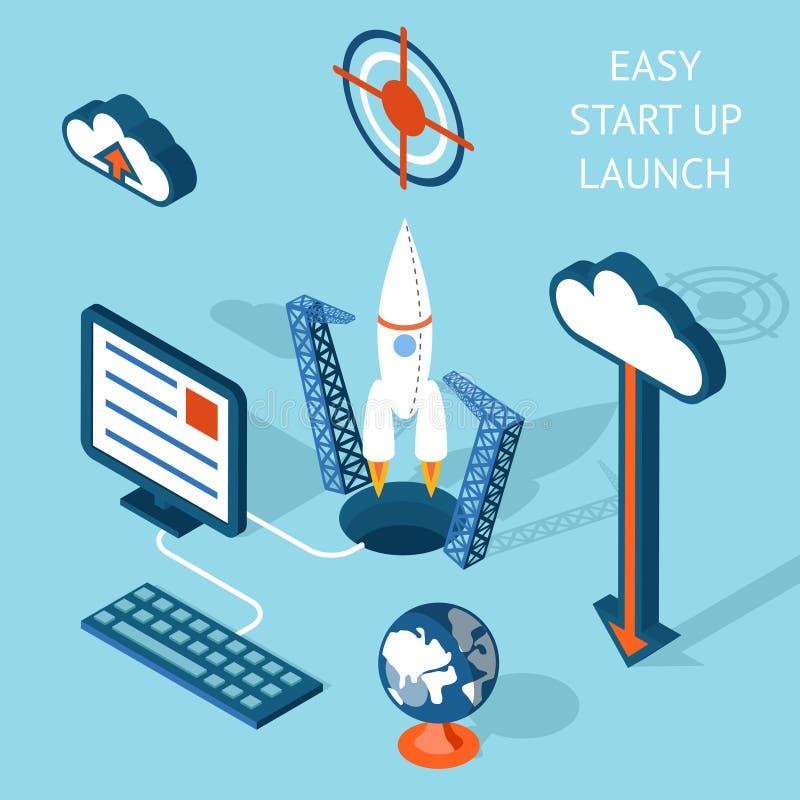 Projeto Start-up fácil de Infographic do lançamento de Cartooned ilustração royalty free