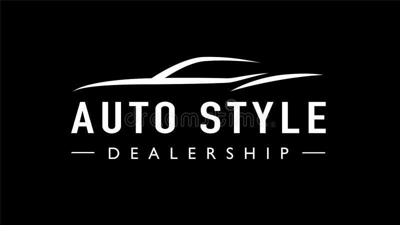Projeto super do logotipo do carro com a silhueta do ícone do veículo motorizado dos esportes do conceito ilustração stock