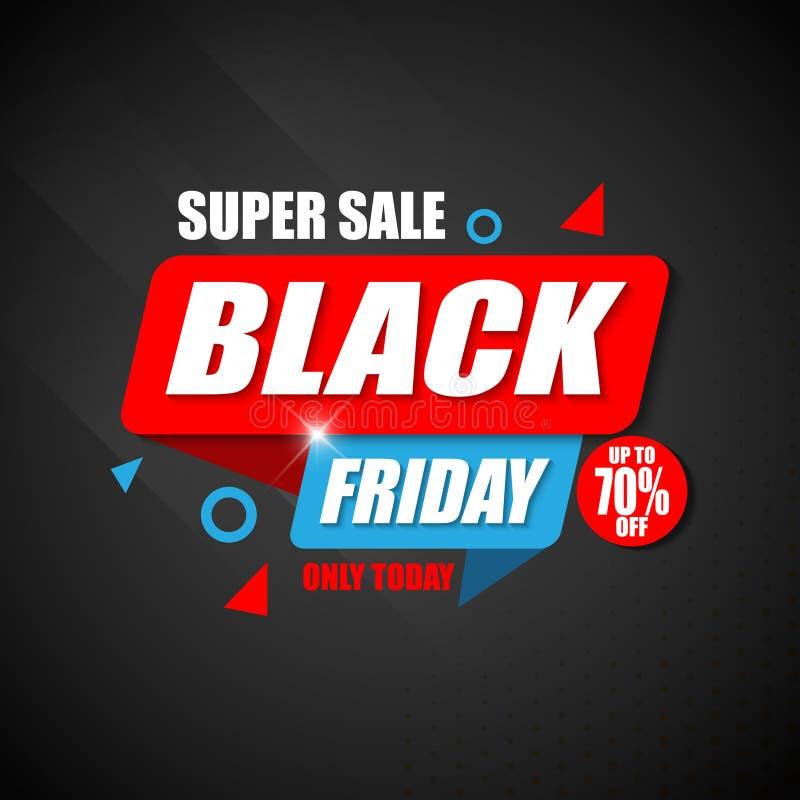Projeto super do molde da etiqueta do cartaz de Black Friday da venda ilustração do vetor
