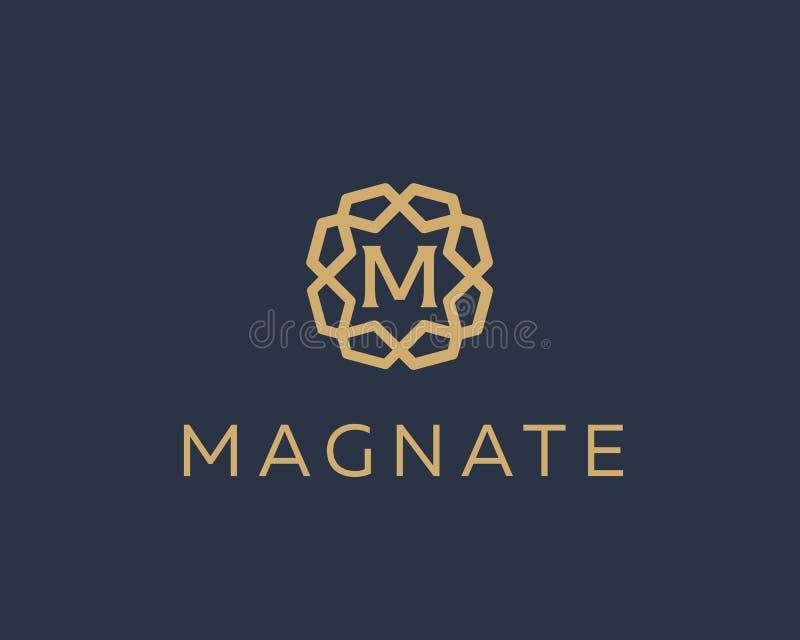 Projeto superior do vetor do ícone do logotipo da letra M Logotype luxuoso da borda da gema do quadro da joia Sinal do selo das i ilustração do vetor