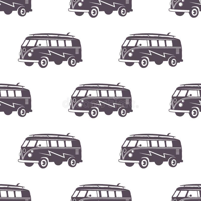 Projeto surfando do teste padrão do carro do estilo antigo Papel de parede sem emenda do verão com camionete do surfista Carro mo ilustração royalty free