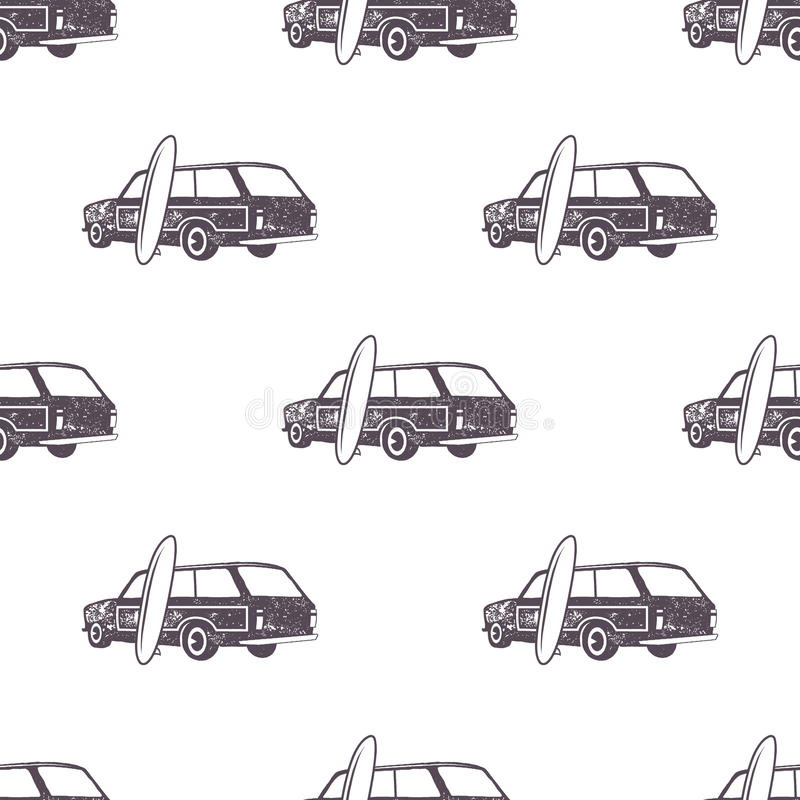 Projeto surfando do teste padrão do carro do estilo antigo Papel de parede sem emenda do verão com camionete do surfista, prancha ilustração do vetor