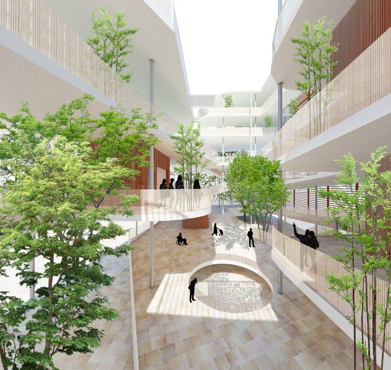 Projeto sustentável da arquitetura Edifício verde foto de stock royalty free