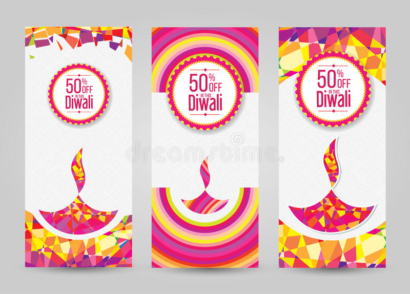 Projeto Templat da bandeira de Diwali do vetor ilustração do vetor