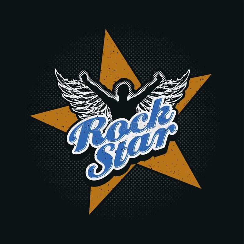 Projeto tipográfico da estrela do rock ilustração royalty free