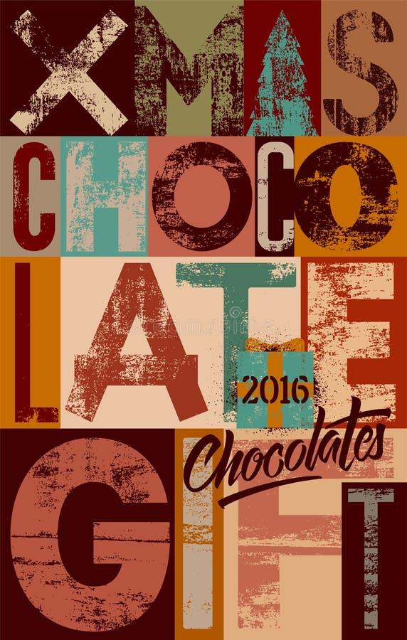 Projeto tipográfico do cartaz do presente do chocolate do Natal do vintage Ilustração retro do vetor do grunge ilustração stock