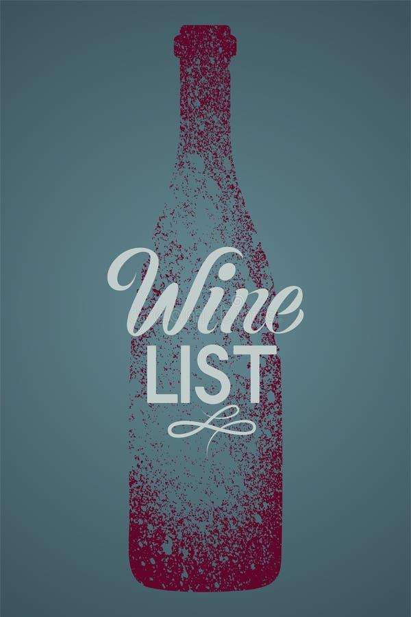 Projeto tipográfico do cartaz do estilo do respingo do estêncil do grunge do vintage da carta de vinhos Ilustração retro do vetor ilustração do vetor