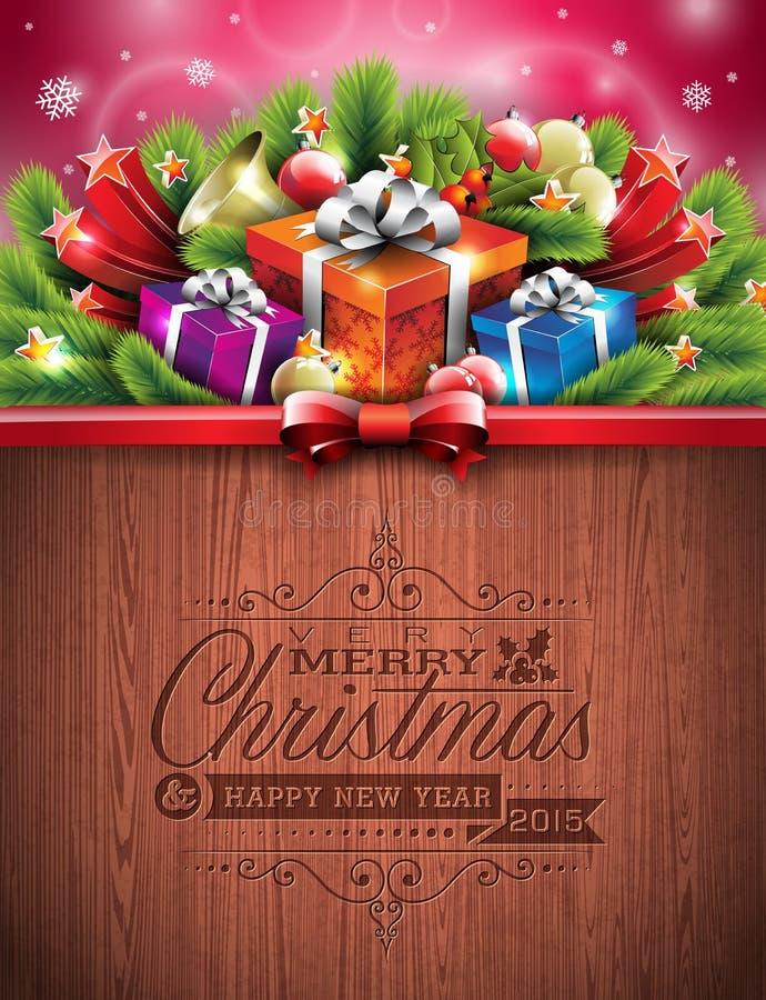 Projeto tipográfico do Feliz Natal gravado e do ano novo feliz com elementos do feriado no fundo de madeira da textura ilustração stock