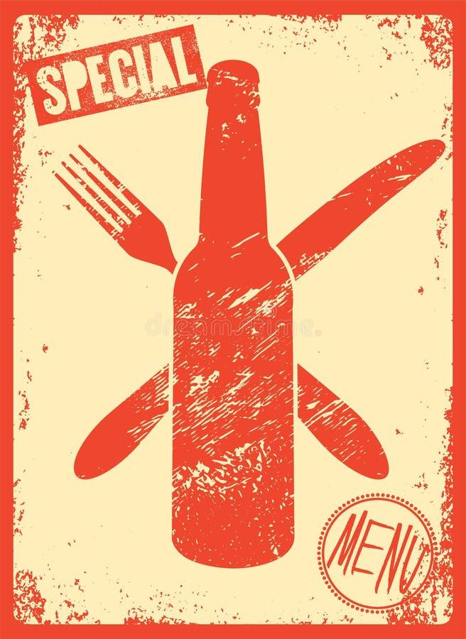 Projeto tipográfico do grunge do vintage do menu especial Ilustração retro do vetor ilustração stock