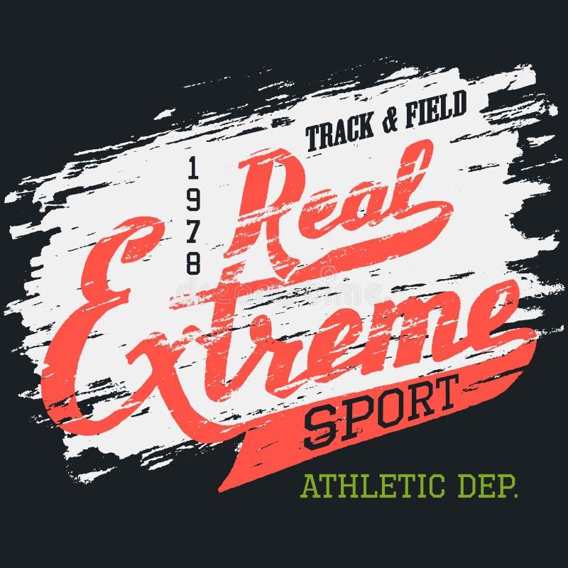 Projeto tipográfico do t-shirt extremo real do esporte ilustração do vetor