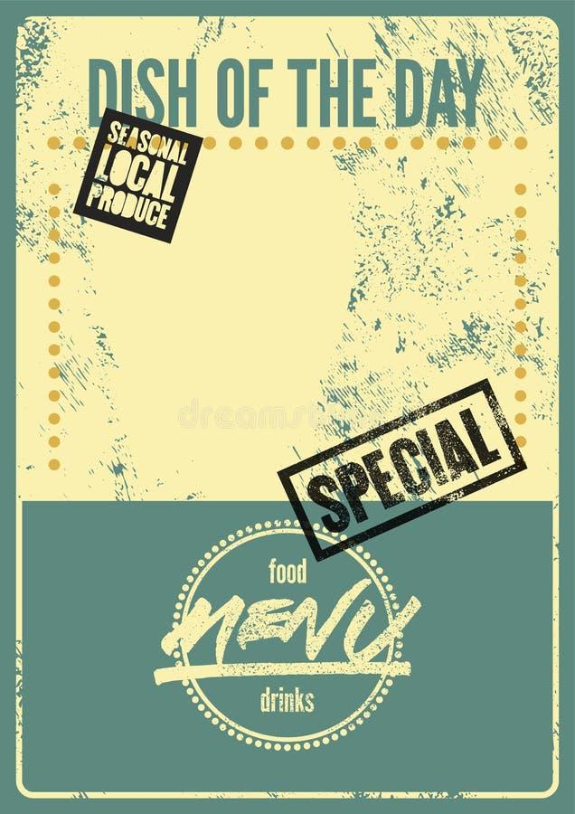Projeto tipográfico do vintage do grunge do menu especial Prato do dia Produto local sazonal Ilustração retro do vetor ilustração do vetor