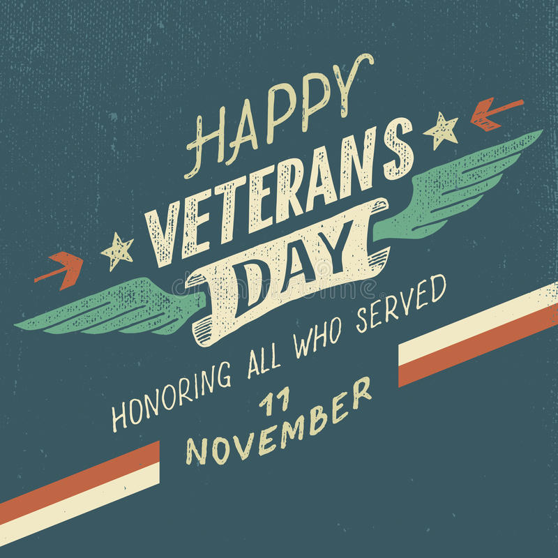 Projeto tipográfico feliz do dia de veteranos ilustração do vetor