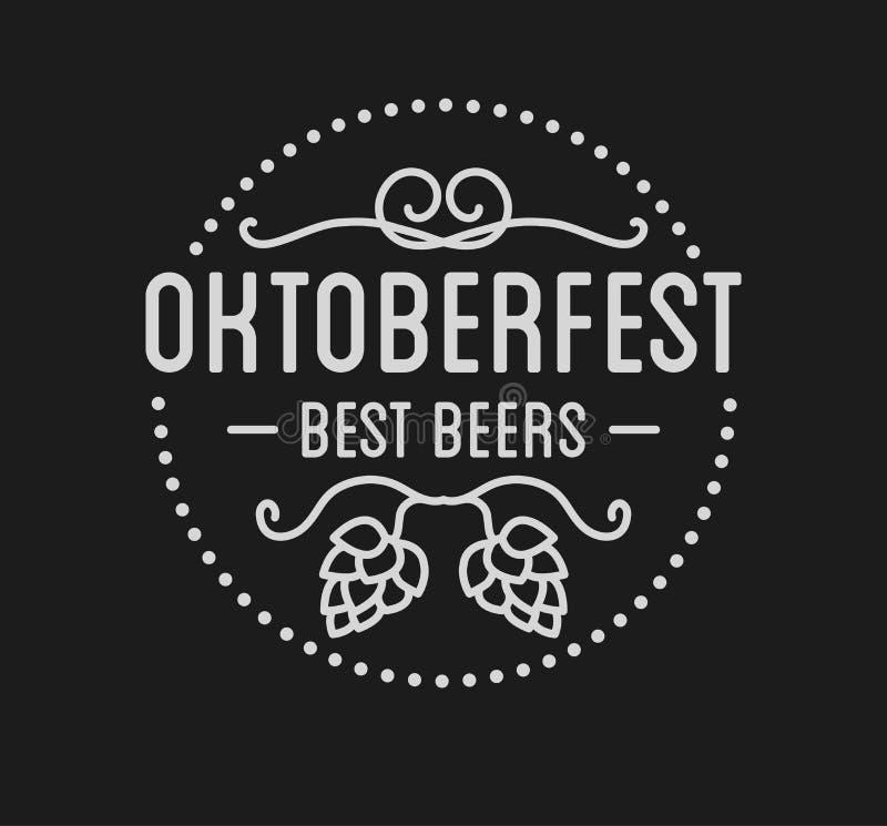 Projeto tipográfico retro da celebração da tipografia da rotulação do festival da cerveja de Oktoberfest ilustração stock