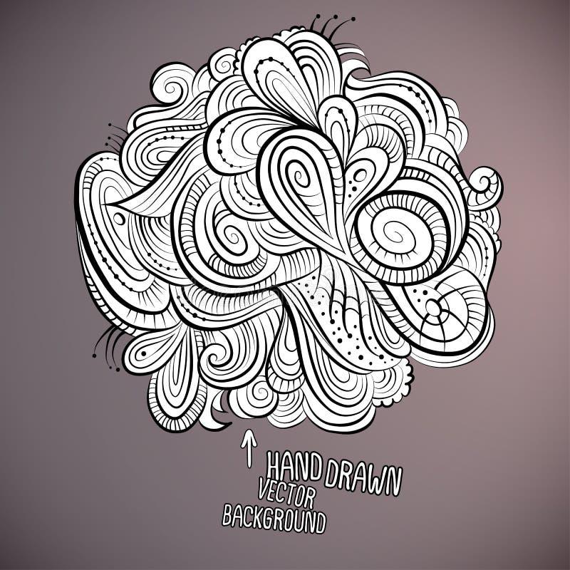 Projeto tirado do vetor mão abstrata floral ilustração stock