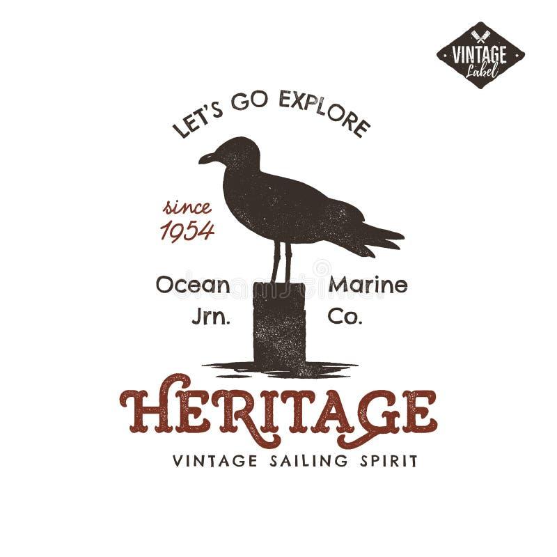 Projeto tirado mão da etiqueta do vintage Símbolo da gaivota Efeito da tipografia Insígnias da tipografia, fato do t-shirt Velho  ilustração stock