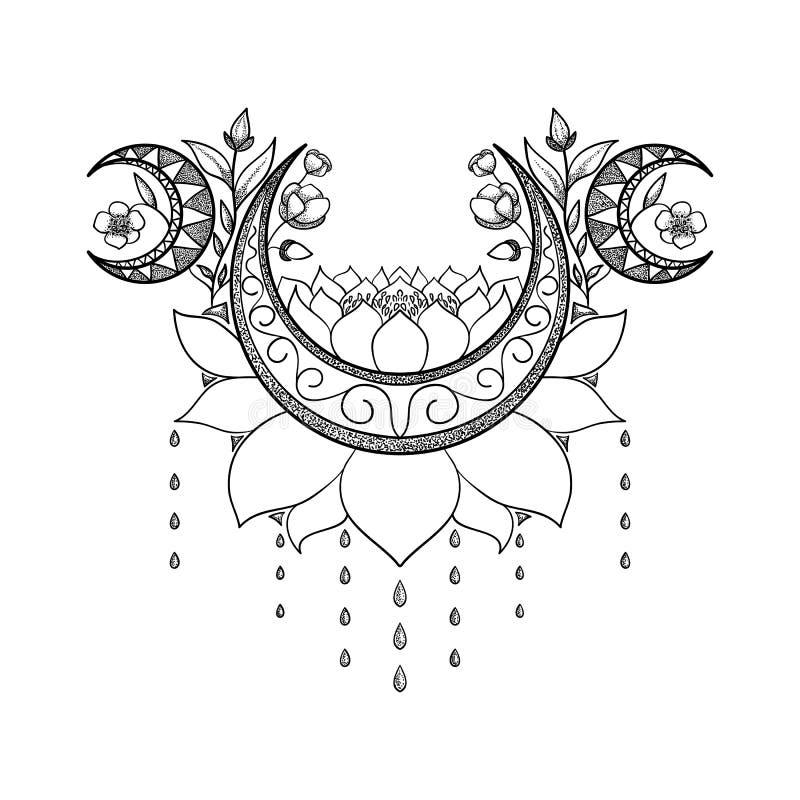 Projeto tirado mão da tatuagem do vetor Lua, lótus e composição crescentes das flores Tema sagrado ilustração royalty free