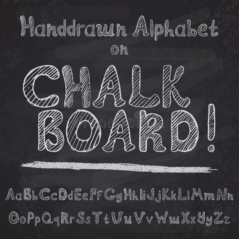 Projeto tirado mão do alfabeto na placa de giz, na parte superior áspera da fonte de vetor e nos leters da caixa baixa ilustração royalty free