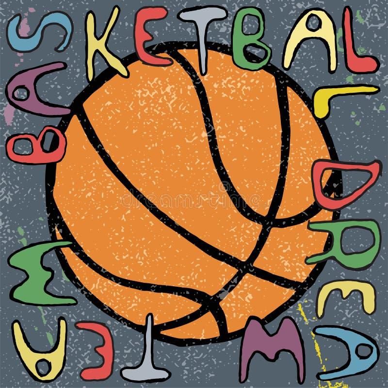 Projeto tirado mão do cartaz da bola do basquetebol Vetor ilustração royalty free