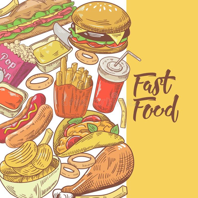 Projeto tirado mão do fast food com hamburguer, fritadas e sanduíche Comer insalubre ilustração do vetor