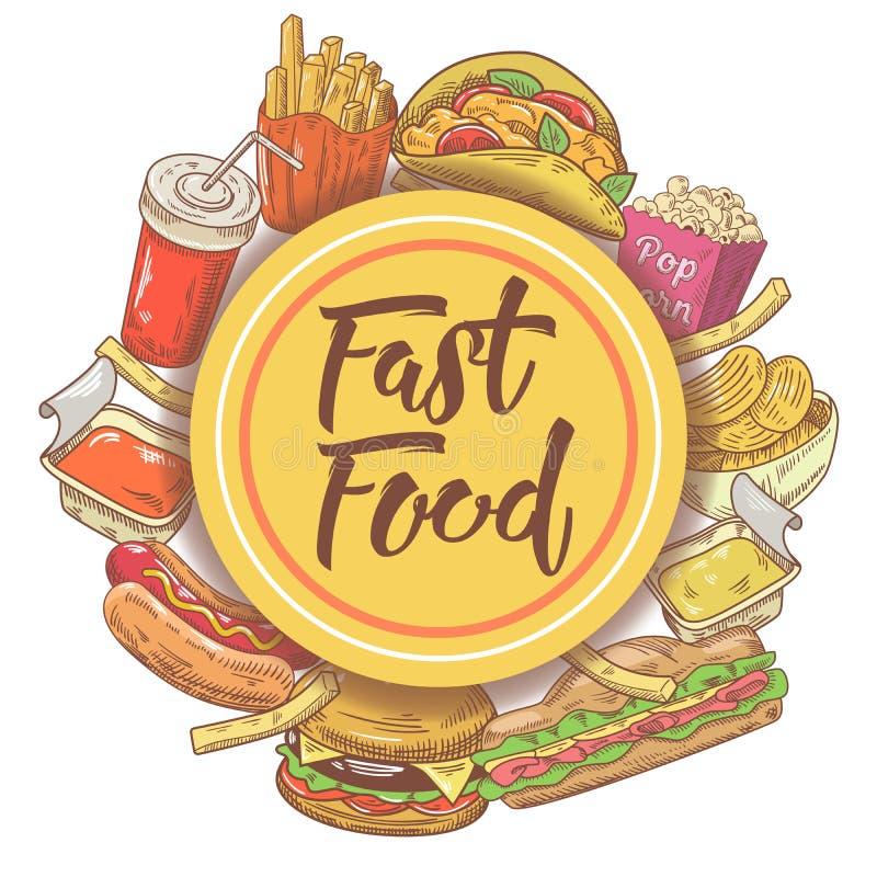 Projeto tirado mão do fast food com sanduíche, hamburguer, fritadas e bebida Comer insalubre ilustração royalty free