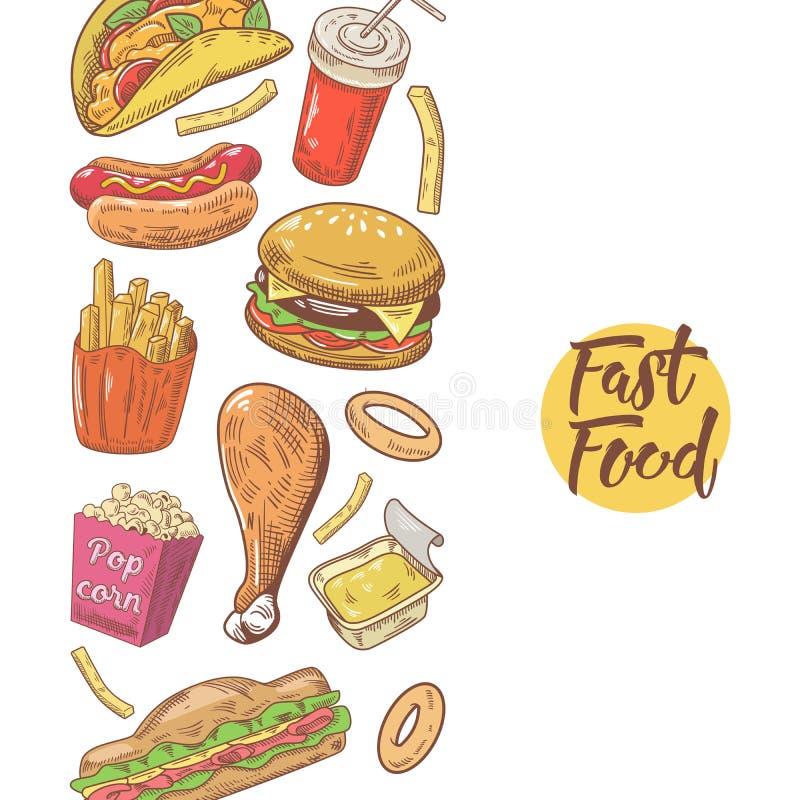 Projeto tirado mão do menu do fast food com hamburguer, fritadas e sanduíche Comer insalubre ilustração do vetor
