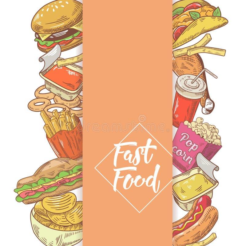 Projeto tirado mão do menu do fast food com sanduíche, fritadas e hamburguer Comer insalubre ilustração royalty free