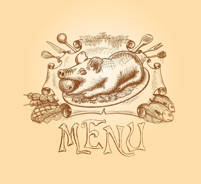 Projeto tirado mão do título do menu do vetor ilustração royalty free