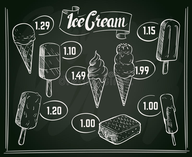 Projeto tirado mão do vetor do menu do gelado no quadro ilustração stock