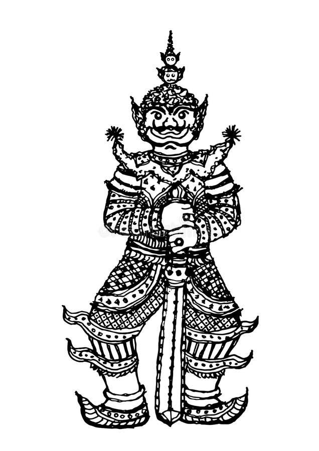 Projeto tradicional da ilustração do desenho da mão do vetor dos iaques gigantes tailandeses ilustração stock
