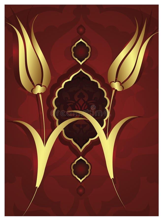 Projeto tradicional do ouro do otomano ilustração do vetor