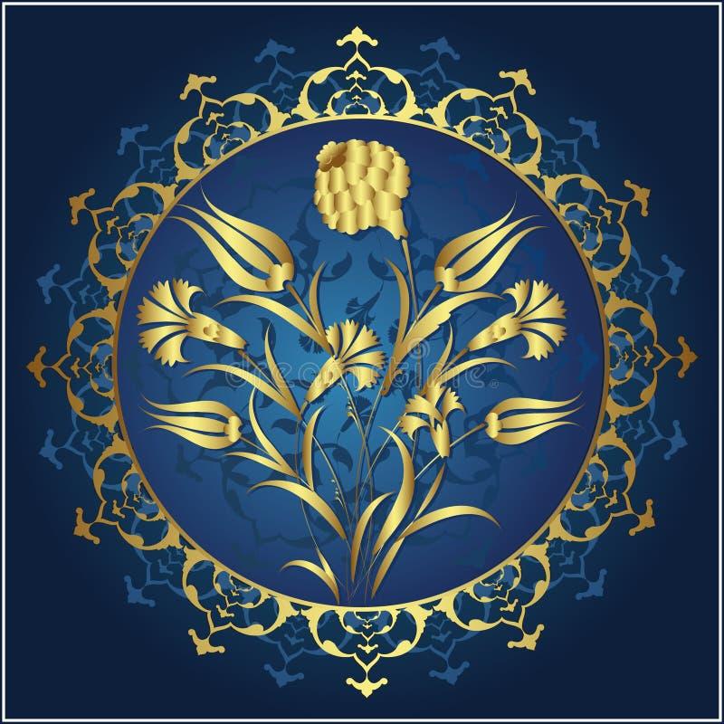 Projeto tradicional do ouro do otomano ilustração royalty free