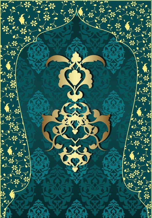 Projeto tradicional do ouro do otomano ilustração stock